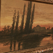 Signed antique atmospheric tonalist watercolor painting of a house and trees at sunset dated 1