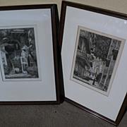 EUGENE F. LOVING (1908-1971) New Orleans Louisiana art **PAIR** original pencil signed etching