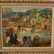 Southwestern Art Taos New Mexico painting of Native Americans in front of the Pueblo