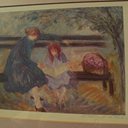 BARBARA A. WOOD (20th century California) pencil signed print of mother and child on a park be