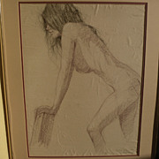 WALT GONSKE (1942-) charcoal and pencil drawing of a young nude woman by noted New ...