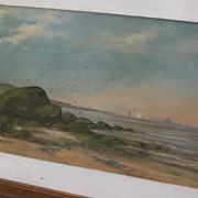 American 19th century pastel painting of New England coastline