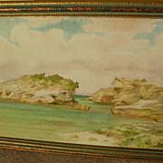 JOHN W. NICOLL (1865-1943) vintage Bermuda watercolor painting by listed California artist