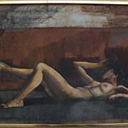 ZOLTAN SEPESHY (1898-1974) elegant mixed media drawing of a reclining female nude by well ...