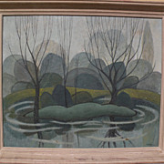 Canadian art modernist 1953 landscape painting reminiscent of Group of Seven signed F. SULLIVA