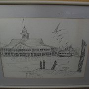 California art original 1974 signed pencil drawing of the Pavilion and ferry in Newport Beach