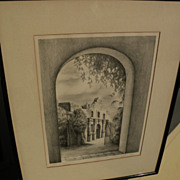 "Vintage Texas art original pencil signed lithograph ""The Alamo"" by artist M. CRITTEN"