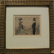 """JEAN-LOUIS FORAIN (1852-1931) plate signed etching """"Le Bouquet"""" by well known French"""