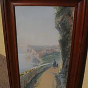 GIOVANNI BATTISTA (1858-1925) Italian art signed gouache coastal landscape painting with figur