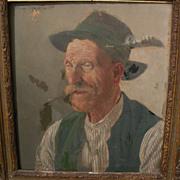 ANDREAS MITTERFELLER (1912-1972) German art 1947 portrait of traditional Bavarian gentleman in