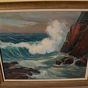 GEORGE SANDERS BICKERSTAFF (1893-1954) California plein air art impressionist painting of coas