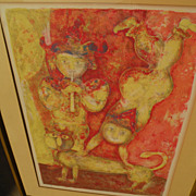 SAKTI BURMAN (1935-) pencil signed color lithograph by well listed contemporary Asian Indian a