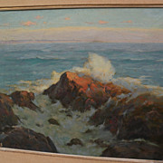 "HENRY L. RICHTER (1870-1960) California plein air impressionist art oil painting ""Surf"""