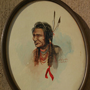 SOLD Western American art 1924 signed watercolor of Native American in style of Edgar Paxson