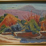 RAY CUEVAS (1932-) California plein air art 1999 painting of San Gabriel Mountains autumn land