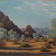 California plein air art signed desert painting circa 1980