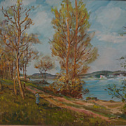 Impressionist landscape painting of figures on a forested path by a lake signed UDKO