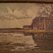 Impressionist older painting of white birch trees by a pond