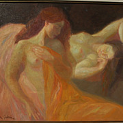 EMILIA CASTANEDA (1943-) Spanish art large impressionist painting of nudes by well listed ...