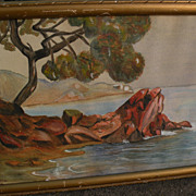 French 1927 watercolor painting likely French Riviera signed H. CLOTTU