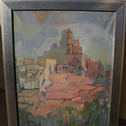 Modernistic painting of a southern European hilltop town