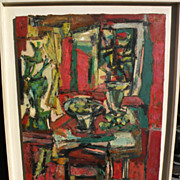 ERWIN WENDING (1914-1993) large mid century modern still life painting by listed Jewish German