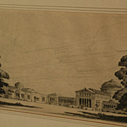 LEON PESCHERET (1892-1971) etching of Chicago Museum of Science and Industry by listed artist