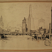 """OTTO SCHNEIDER (1875-1946) etching """"Chicago From the River"""" by listed Illinois artis"""