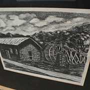 "KATHRYN S. MORROW New Mexico art pencil signed circa 1940's lithograph ""The Old Mill--Rui"