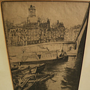 EDGAR CHAHINE (1874-1947) fine etching of Saint-Gervais, Paris, by noted Armenian-French artis