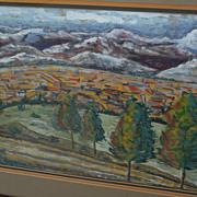 Gouache western landscape painting perhaps New Mexico
