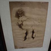 "JACQUES VILLON (1875-1963) pencil signed limited edition drypoint print of 1905 ""La Petit"