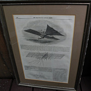 Transportation memorabilia 19th century periodical page describing early steam powered aircraf