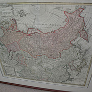 Antique 1739 engraved hand colored map of Russian Empire by cartographer Johann Baptiste ...