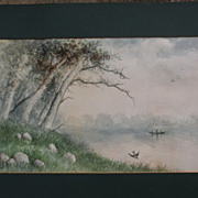 "Antique American watercolor landscape painting signed ""T H Dore"""