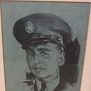 BETTINA STEINKE (1913-1999) original charcoal drawing portrait by noted Southwest artist and .