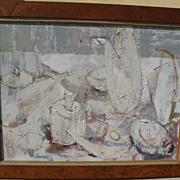 CAROL ROSENAK (1925-2002) elegant mid century interior with still life white on white painting