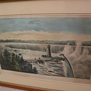 """Currier and Ives original lithograph print """"Niagara Falls"""" with hand coloring"""