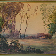 Fine impressionist watercolor painting of trees in an extensive landscape