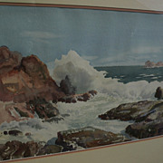 FRED SERSEN (1890-1962) fine California watercolor coastal seascape painting by noted studio s