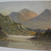 English or Scottish 19th century watercolor painting of the Lakes District or Highlands
