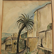 Fine 1926 French Mediterranean ink and watercolor drawing signed and with Stendahl Gallery pro
