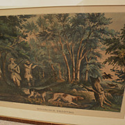 """Currier and Ives large folio hand colored lithograph print """"Woodcock Shooting"""" 1852,"""
