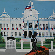 Haitian art naive painting of Presidential Palace in Port-au-Prince