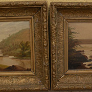 PAIR Hudson River style 19th century paintings on board possibly by Ohio Valley artist Clement R. Edwards