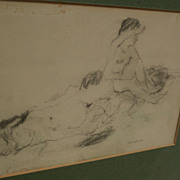 MAX MAYRSHOFER (1875-1950) charcoal drawing of nude women bathing circa 1915