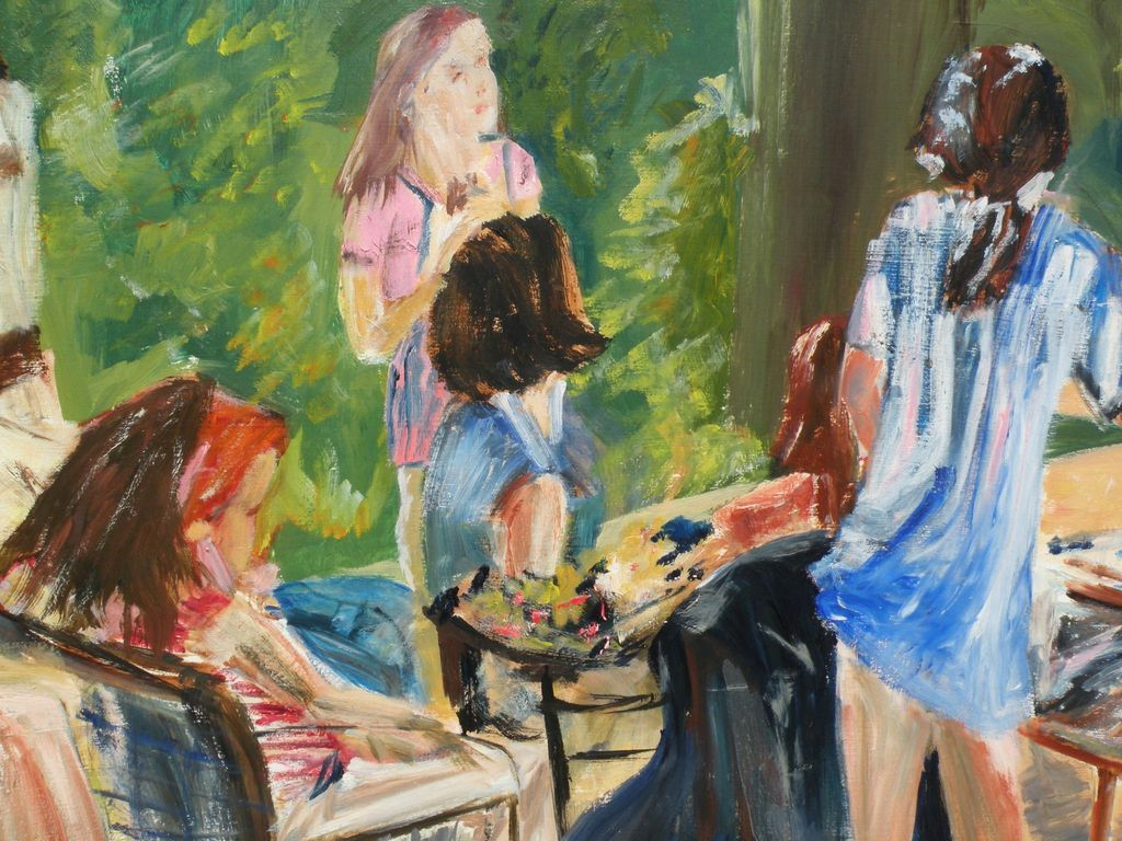 Contemporary Figurative Art Painting Signed Winnifred