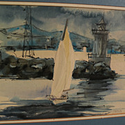 "American signed impressionist watercolor painting ""Sailing at the Coast"""