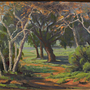 """GEORGE BREDEHORST (1903-1986) California plein air art landscape painting """"Sycamores"""""""