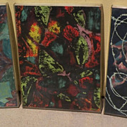 "Three circa 1960's mid century abstract drawings on paper by artist ""Greene"""